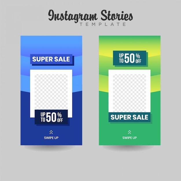 Banner de venda de modelo de histórias do instagram Vetor Premium