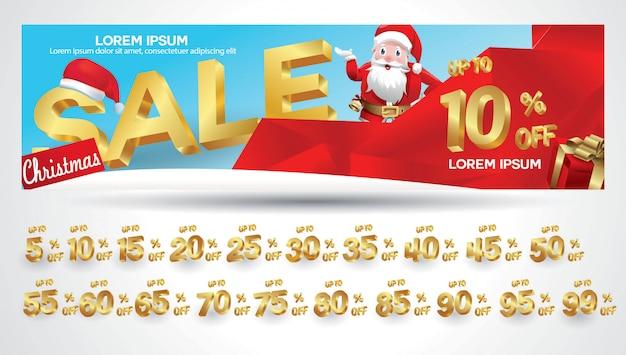 Banner de venda de natal com etiqueta de desconto 10,20,30,40,50,60,70,80,90,99 por cento Vetor Premium