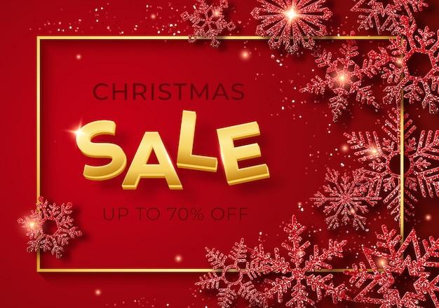 Banner de venda de natal com flocos de neve e confetes brilhantes Vetor Premium