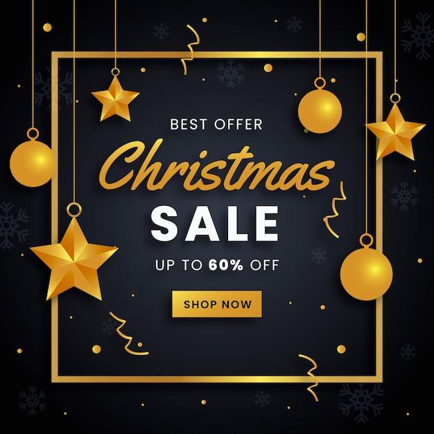 Banner de venda de natal dourado Vetor grátis