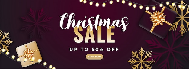Banner de venda de natal. Vetor Premium