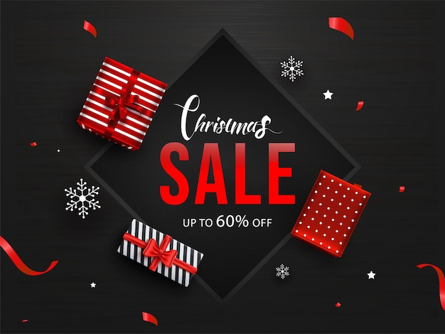 Banner de venda de natal Vetor Premium