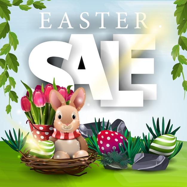 Banner de venda de páscoa com paisagem de primavera Vetor Premium