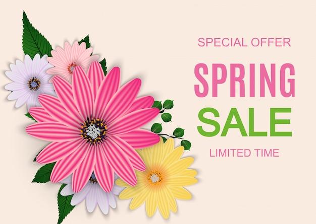 Banner de venda de primavera bonito com elementos de flor colorida Vetor Premium
