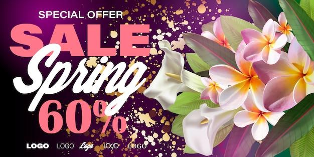 Banner de venda de primavera com flores de papel para compras on-line, ações de publicidade, revistas e sites. Vetor Premium