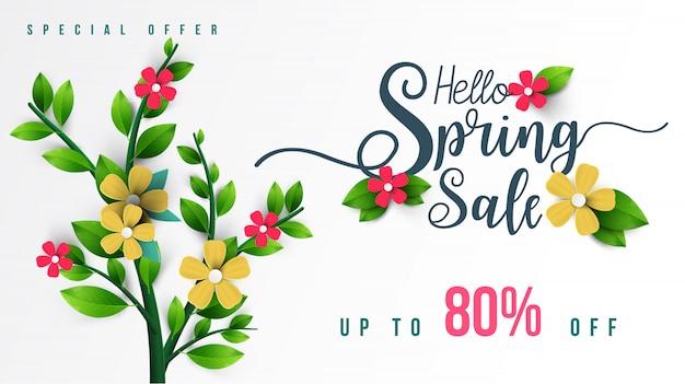 Banner de venda de primavera com folha verde Vetor Premium