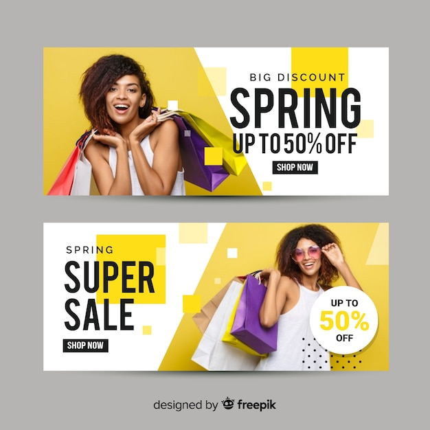 Banner de venda de primavera fotográfico Vetor grátis
