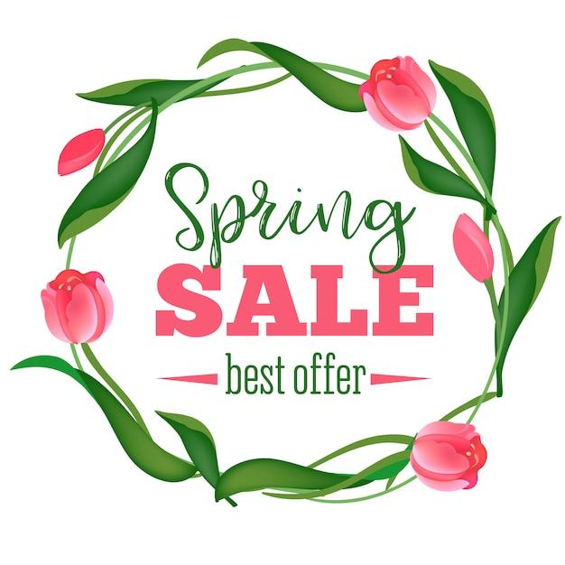 Banner de venda de primavera Vetor Premium