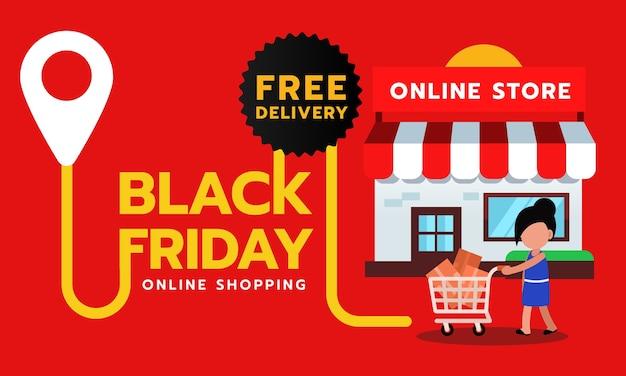 Banner de venda de sexta-feira negra, entrega gratuita para compras online. Vetor Premium