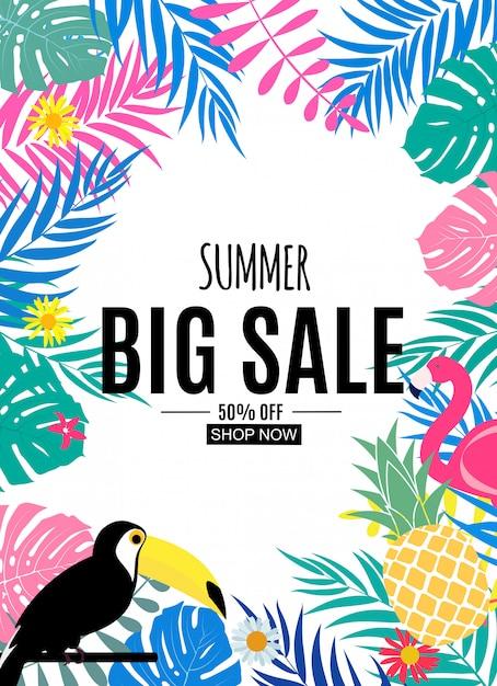 Banner de venda de verão abstrata Vetor Premium