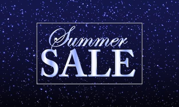 Banner de venda de verão com confete brilhante ou partículas brilhantes Vetor Premium