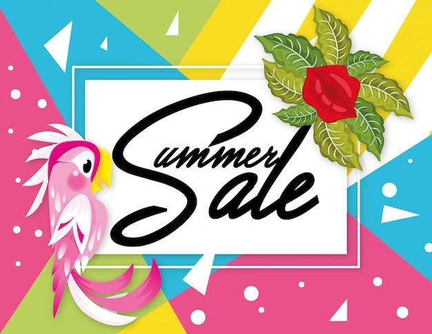 Banner de venda de verão com design geométrico de papagaio Vetor Premium
