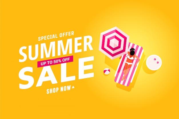Banner de venda de verão com design plano de descanso pessoas na piscina, viagens e férias Vetor Premium