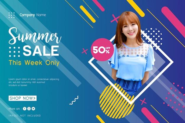 Banner de venda de verão com elegante geométrica Vetor Premium