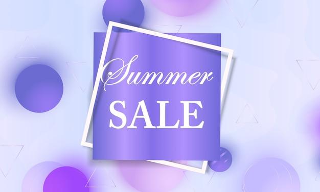 Banner de venda de verão com esferas suaves violetas e moldura Vetor Premium