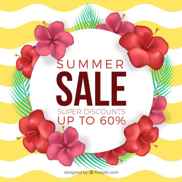 Banner de venda de verão com flores sobre um fundo de ondas Vetor grátis