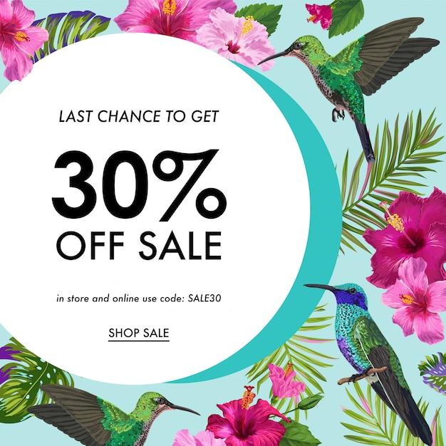 Banner de venda de verão com flores tropicais e pássaros Vetor Premium