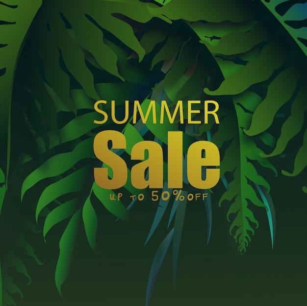 Banner de venda de verão com folhas tropicais, design de folhas tropicais exóticas Vetor Premium