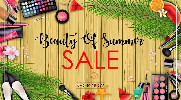 Banner de venda de verão com fundo de beleza e cosméticos Vetor Premium