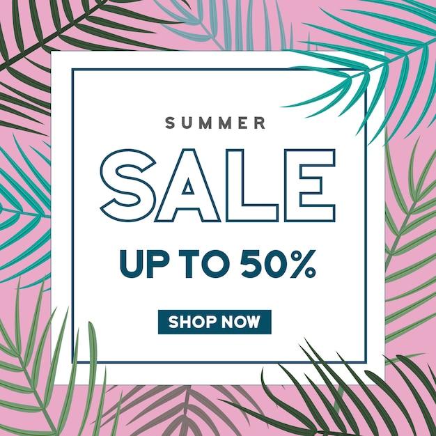 Banner de venda de verão com fundo de folhas Vetor Premium