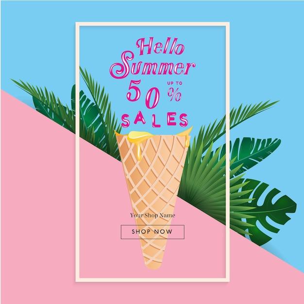 Banner de venda de verão com palmeira tropical Vetor Premium