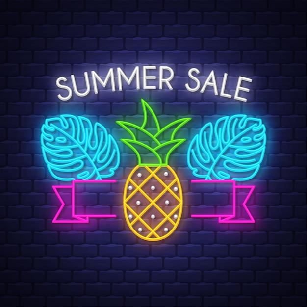 Banner de venda de verão. sinal de neon. Vetor Premium