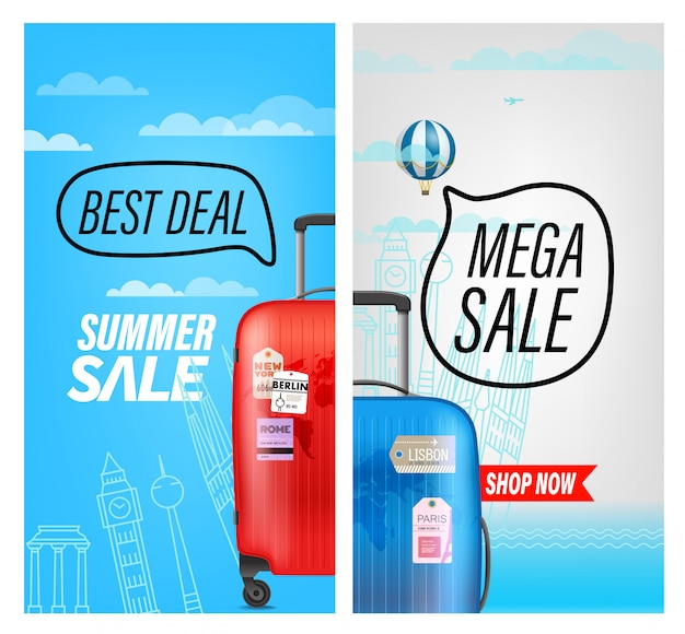 Banner de venda de viagens de verão, melhor negócio e mega venda Vetor Premium