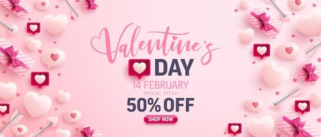Banner de venda do dia dos namorados com corações doces, balão e elementos de dia dos namorados em rosa Vetor Premium