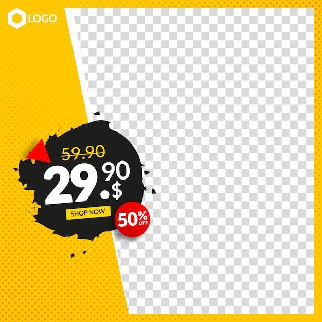 Banner de venda editável criativo para instagram e web com moldura abstrata vazia Vetor Premium