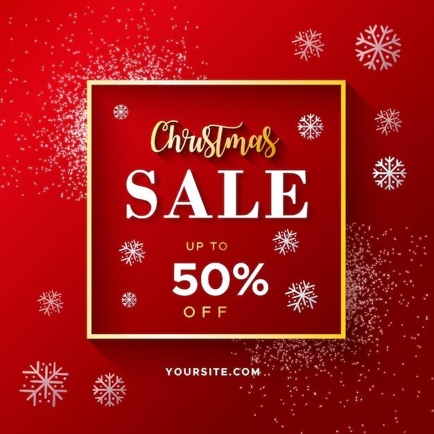Banner de venda elegante de natal vermelho com glitter Vetor grátis