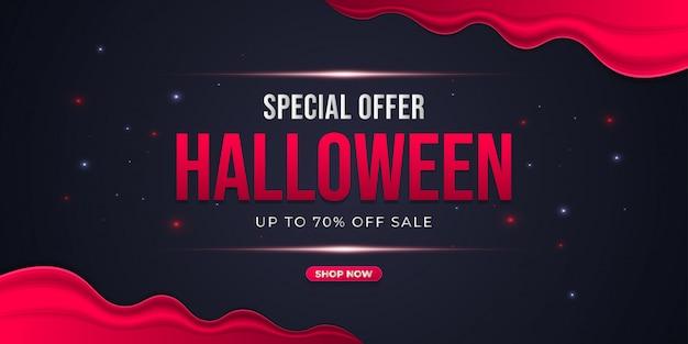 Banner de venda especial de halloween com conceito de fundo vermelho e preto Vetor Premium