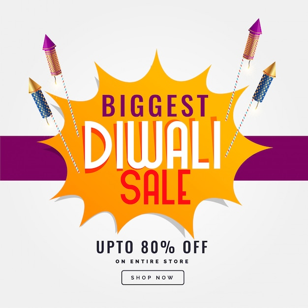 Banner de venda festival de diwali com foguete cracker Vetor grátis