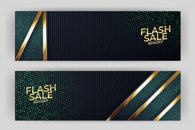 Banner de venda flash com prémio de estilo de fundo dourado Vetor Premium