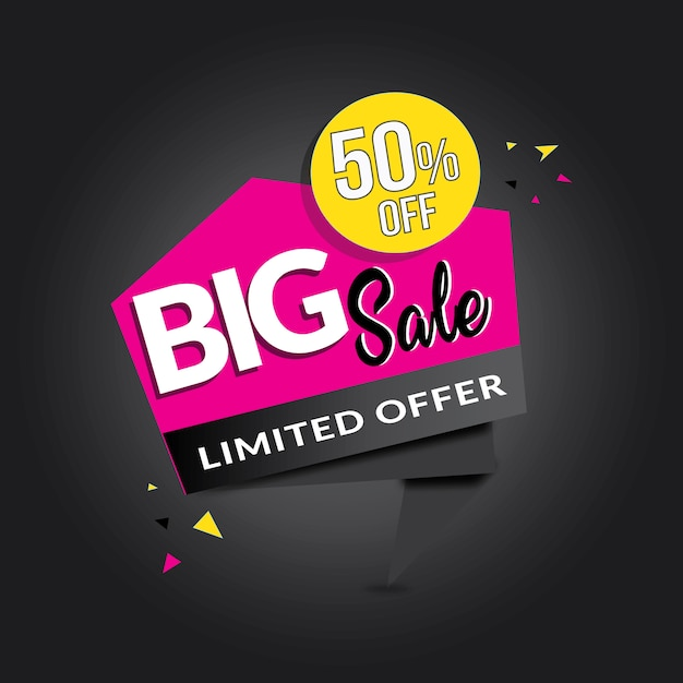 Banner de venda grande de forma personalizada rosa branca preta Vetor grátis