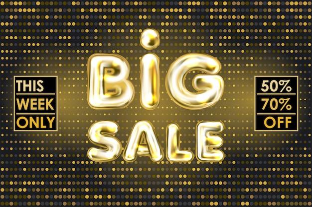 Banner de venda grande preto com letras de balão de folha de ouro Vetor Premium
