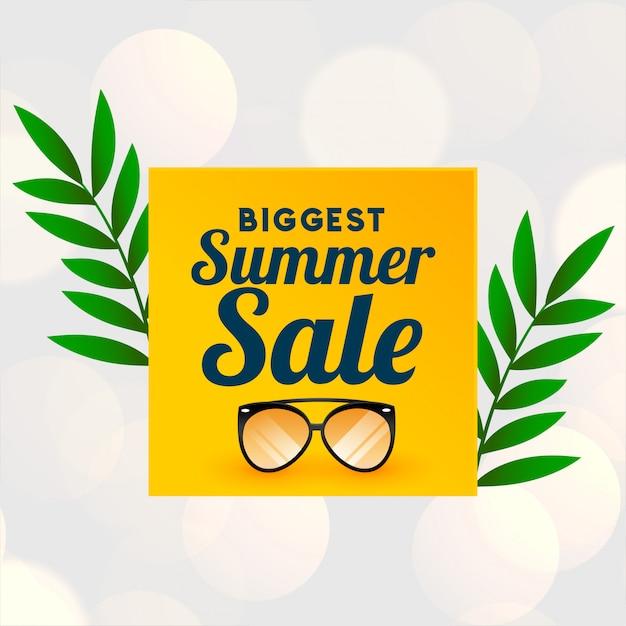 Banner de venda grande verão com desgaste de vidro Vetor grátis
