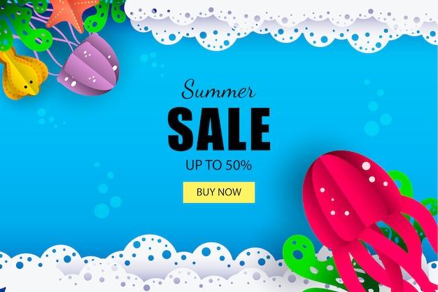 Banner de venda marinha de verão Vetor Premium