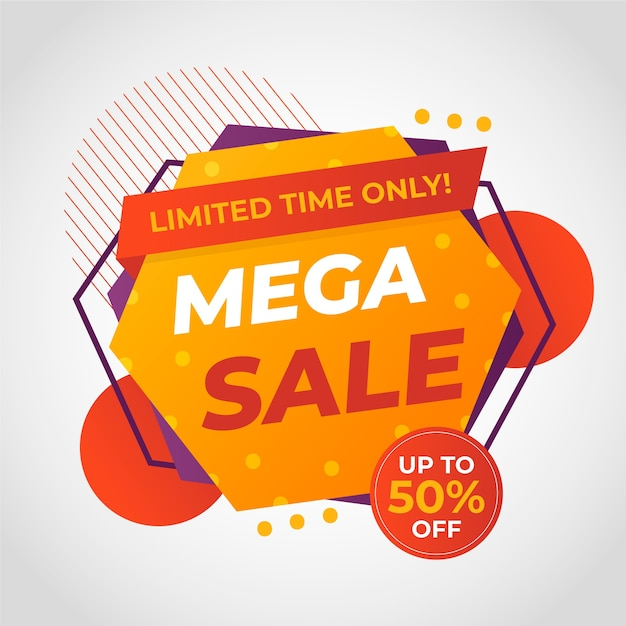 Banner de venda mega colorido abstrato Vetor grátis
