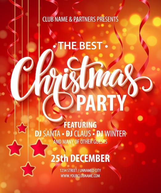 Banner de venda modelo de cartaz de festa de natal Vetor Premium