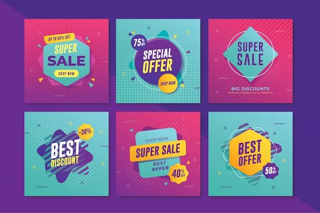 Banner de venda moderna com tamanho quadrado para instagram Vetor Premium