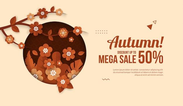 Banner de venda outono com elementos de flor em papel cortado estilo para venda comercial ou cartaz de promo Vetor Premium