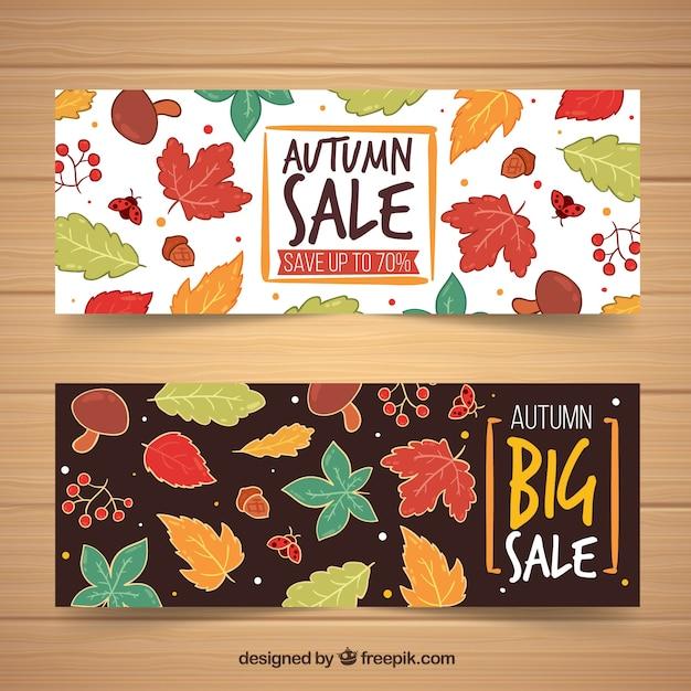 Banner de venda outono conjunto com folhas Vetor grátis
