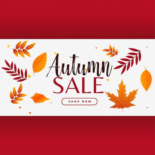 Banner de venda outono elegante com folhas Vetor grátis