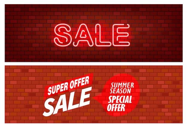 Banner de venda, parede de bick com conjunto de inscrição de venda Vetor Premium