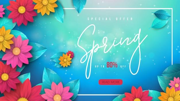 Banner de venda primavera com folhas e flores coloridas Vetor Premium