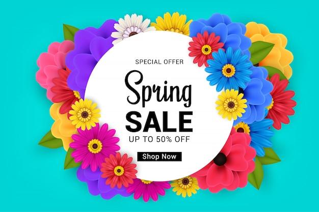 Banner de venda primavera em azul com design de flores coloridas Vetor Premium