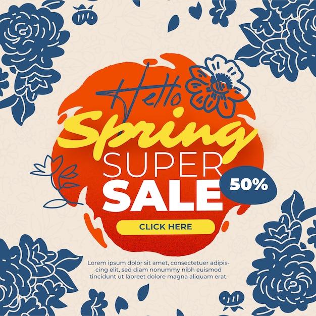 Banner de venda primavera Vetor grátis