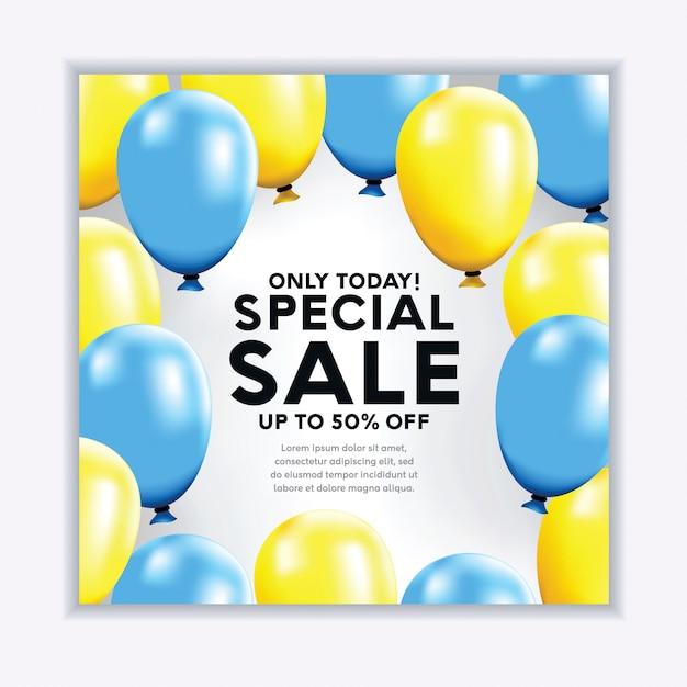 Banner de venda realista com balões Vetor Premium