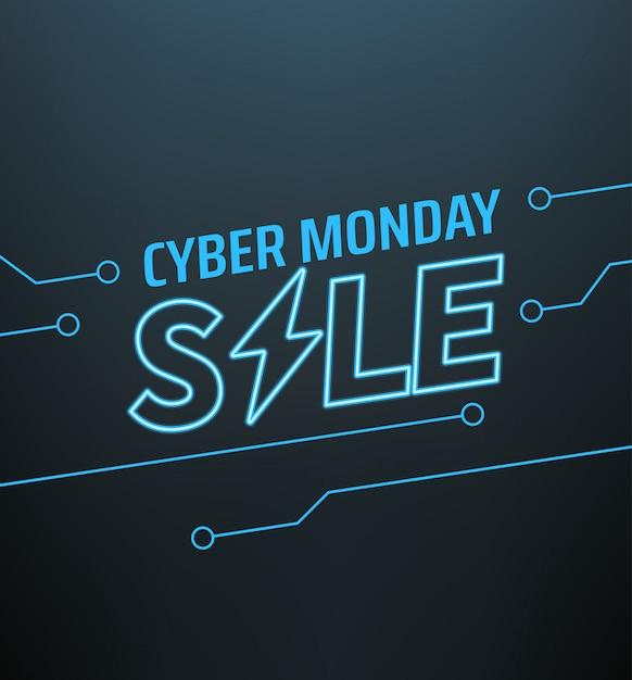 Banner de venda segunda-feira cyber. conceito de oferta de temporada Vetor Premium