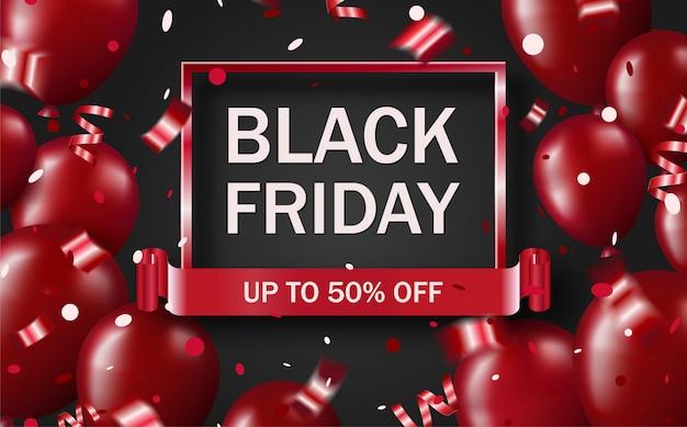 Banner de venda sexta-feira negra com balões vermelhos brilhantes brilhantes e confetes Vetor Premium
